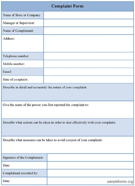 Companies Complaint Form - customer complaints form template