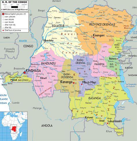 Podrobnaya Politicheskaya Karta Demokraticheskoj Respubliki Kongo