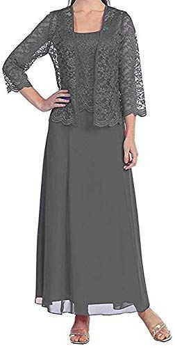 Long Chiffon Two Piece Set Mother of Groom Dress with Lace Jacket