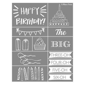 Mesh Stencil - Happy Birthday - 8 5x11 | A Maker's Studio