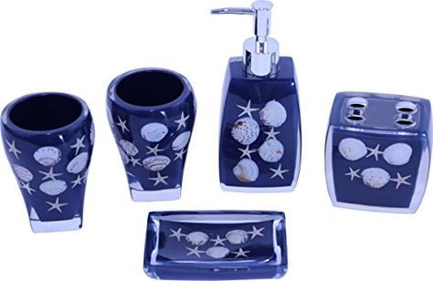 Chabaline Navy Blue Bathroom Accessory Set Ensemble Hand Made Resin