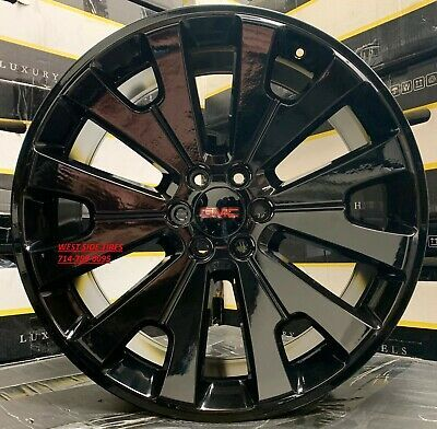 24 Gmc Yukon Denali Sierra Gloss Black Wheels Chevy Tahoe