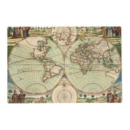 Old Antique General World Map Placemat Zazzle Com In 2020 Map Art Old Antiques Vintage World Maps