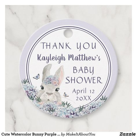 Cute Watercolor Bunny Purple Floral Baby Shower Favor Tags #favortag #gifttag #genderneutral #babyshower #babyshowerthankyou #thankyou #ad