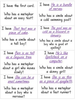 I Have Who Has Similes And Metaphors Whole Class Activity Game Similes And Metaphors Simile Simile Activities