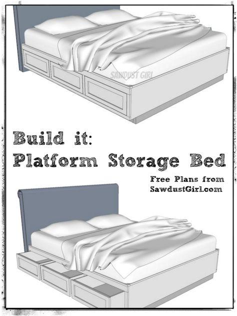 Cal King Platform Storage Bed Free Plans Sawdust Girl Diy Storage Bed Storage Bed King Storage Bed