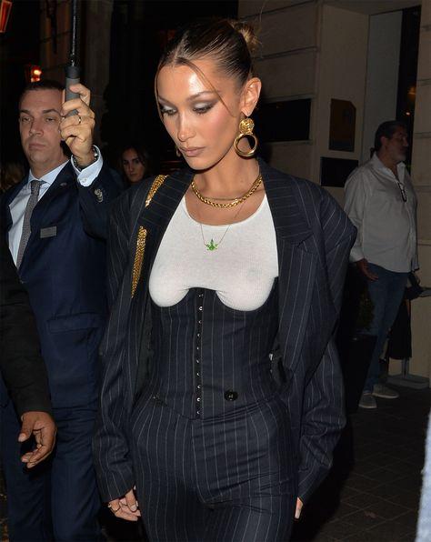 Bella Hadid Nipples on Display in Pin Strip Corset