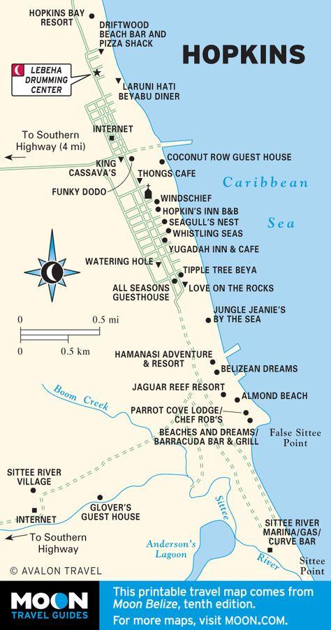 Map of Hopkins, Belize