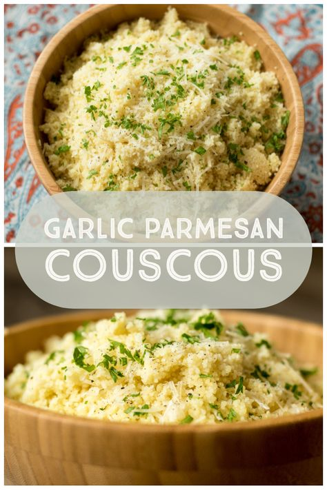 Garlic Parmesan Couscous: In a medium sized pot, bring chicken stock and 2 T of butter to a boil. Add couscous and stir to combine. Cover, turn off heat . Pasta Recipes, Diet Recipes, Vegetarian Recipes, Chicken Recipes, Cooking Recipes, Healthy Recipes, Recipies, Pearl Couscous Recipes, Side Dishes
