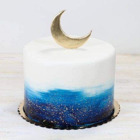 Moon and stars baby shower cake whippedbakeshop fishtown customcake moonandstars paintedcake mooncake babyshower