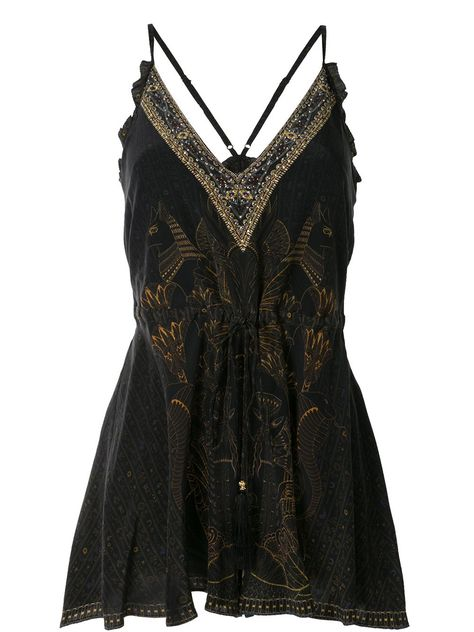Black silk Cobra King playsuit from Camilla featuring embroidered details, a drawstring waist, spaghetti straps, a v-neck and a short length. Three Days Grace, Melanie Martinez, Slipknot, Grunge, Black Playsuit, Cool Outfits, Fashion Outfits, Mode Editorials, Dark Fashion