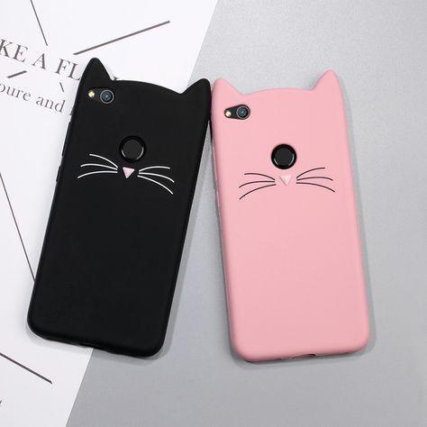 Bonita funda 3D de silicona con dibujo de gato Rosa negro suave