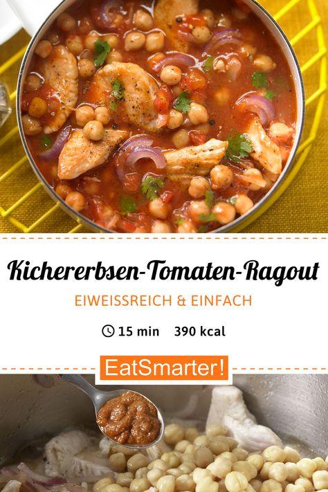 Blitz-Clean-Eating-Rezept: Kichererbsen-Tomaten-Ragout - mit Putenbrustfilet - kalorienarm - schnelles Rezept - einfaches Gericht - So gesund ist das Rezept: 9,7/10 | Eine Rezeptidee von EAT SMARTER | Stress, Wechseljahre, Putengeschnetzeltes, Ragout, Arabisch, Halbzeit-Rezepte, 15-Minuten-Rezepte, Was koche ich heute, für 2 Personen, Für jeden Tag, Schnelle Rezepte, Kochen, One-Pot, Geflügel, Pute, Gemüse, Gewürze, Mittagessen, Abendessen, Hauptspeise #hülsenfrüchte #gesunderezepte