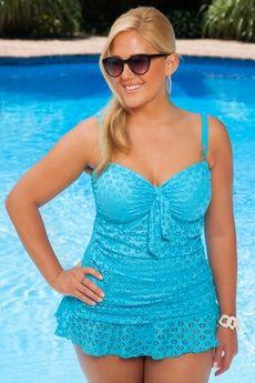 Stinkin Cute!! Women's Plus Size Swimwear - Always For Me Chic Eyelet Twist Bandeau 2 Pc Tankini w/ Brief