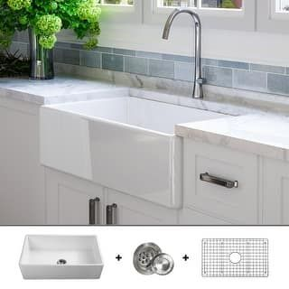 Luxury 30 Inch Modern Fireclay Farmhouse Kitchen Sink Single Bowl White Flat Front Includes Drain Grid By Fossil Blu Farmhouse Sink Kitchen Sink Vintage Farmhouse Sink