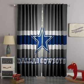 Printed Dallas Cowboys Style Custom Living Room Curtains