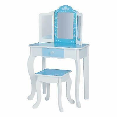 Girls 3 Pc Blue White Snowflake Vanity Table Mirror Stool Wooden Makeup Bedroom 9780684872520 Ebay In 2020 Vanity Set Dressing Table Vanity Blue Home Furniture