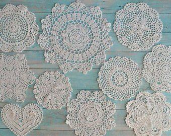 Lot 10 Hand Crochet Doilies White Round Christmas Snowflake Wedding Ornaments