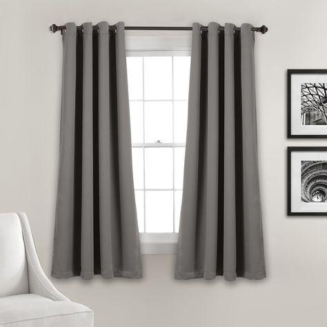 Lush Decor Insulated Grommet Blackout Curtain Panels Dark Gray