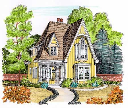 plan 43044pf: gothic revival gem | small cottages, house and tiny houses