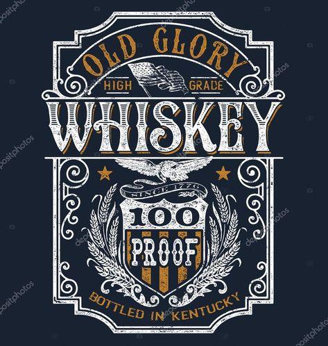 Винтажная футболка Americana Whiskey Label Graphic