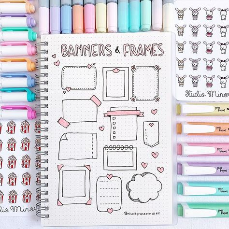 "Nicole Grace on Instagram: ""New banners and frames that you can use in you bullet journal or in your study notes 🙈 I hope you guys like them 💖 . If you want to support…"""