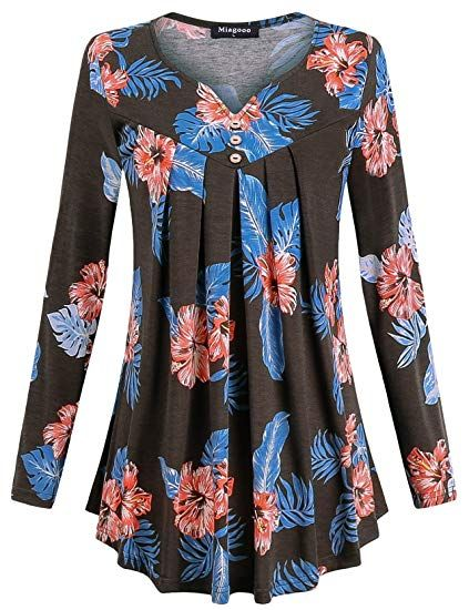 Mstyle Mens Long Sleeve Floral Print Casual Trendy Halloween Round Neck Blouse Tunic Tops