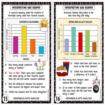 Graphing And Data Analysis Task Cards By Chilimath Teachers Pay Teachers Task Cards Data Analysis Teacher Supplies Circle graphs worksheets 7th grade
