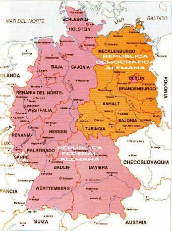 Map Of East And West Germany With Cities.1988 Map Of Germany