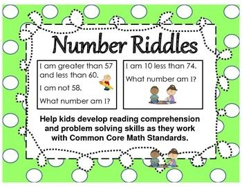 Number Riddles for Scoot Games, Partner Work and Individual Tasks.  Designed to help kids develop reading comprehension skills as they work with First Grade Common Core Math standards.  (Free through Feb. 9, 2014.)