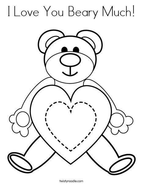I Love You Beary Much Coloring Page Twisty Noodle Love