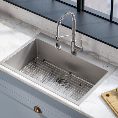 Kraus Stark Pull Down Commercial Combo 33 L X 22 W Kitchen Sink