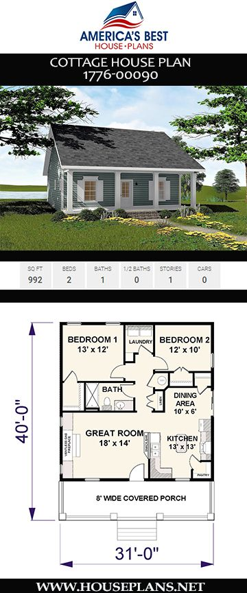 House Plan 1776 00090 Cottage Plan 992 Square Feet 2 Bedrooms 1 Bathroom Small Cottage House Plans Cottage Plan Little House Plans