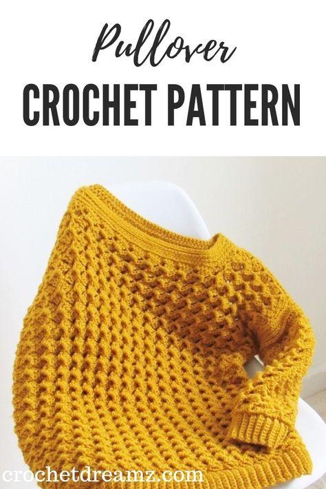 Crochet Sweater Pattern- Textured Pullover - Crochet Dreamz  #crochetsweater, #crochetpullover, #crochetjumper, #crochetsweaterpattern