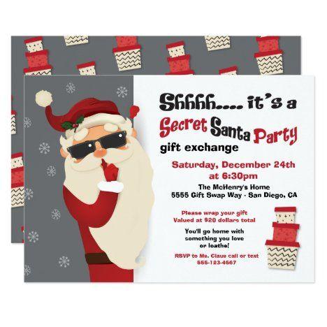 Secret Santa Party Gift Exchange Swap Invitation Zazzle Com Secret Santa Gift Exchange Swap Gifts