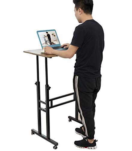 Akway Small Computer Desk Standing Desk With Wheels 31 4 X 19 6 Inches Height Adjustable Des Small Computer Desk Computer Stand For Desk Adjustable Height Desk