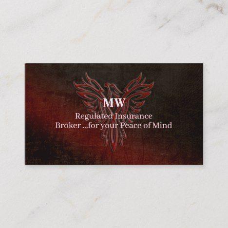Insurance Broker Leather Look Phoenix Risen Logo Business Card