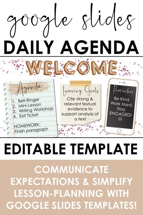 Daily Agenda Template Google Slides Foil Balloon Theme With