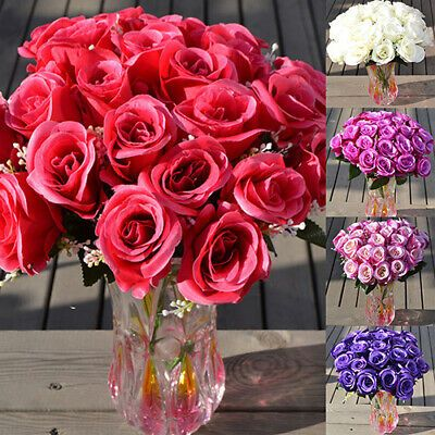 Details About Large Bouquet 24 Heads Fake Rose Faux Silk Flowers Wedding Party Home Decor Usa In 2020 With Images Bouquet Home Decor Faux Flowers Wedding Silk Flowers Wedding