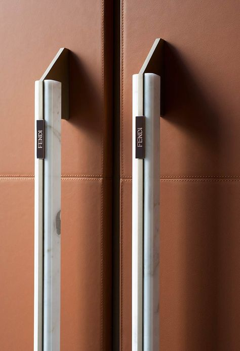 Fendi Cucine Ginger kitchen door handles with calacatta gold marble and copper bronze detailing.   Fendi Cucine takes designer kitchens to a new level   Inside Out