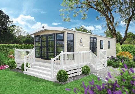 Illustrated With Optional Outlook French Doors Graphite Windows And Sand Vinyl Cladding Mobil Home Mobil Idees Pour La Maison