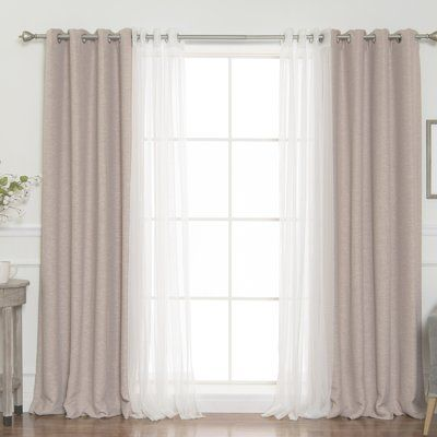Darby Home Co Almanzar Slub Solid Blackout Thermal Grommet Curtain