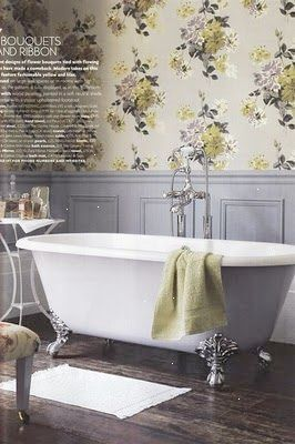 Love This Tub And The Wood Paneling With Wallpaper Vintage Bathroom Decor Bathroom Design Upstairs Bathrooms