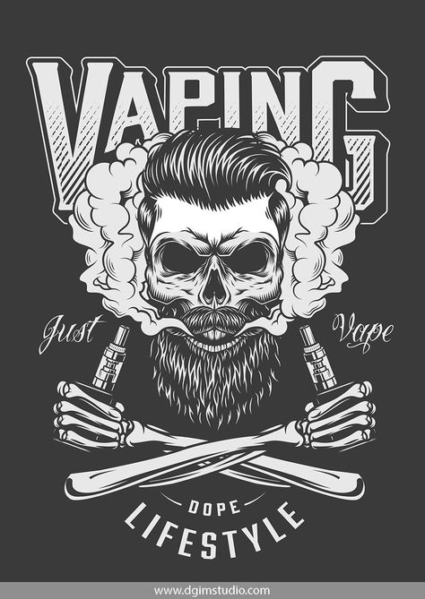 Vintage vaping emblem with bearded and mustached skull in smoke and crossed skeleton hands holding vaporizers. Vector custom design of the skull. Created with the Skull creator. Click to the link and find a way how to create your own design of the Skull. Thousands of combinations! #skull#vectorillustration#vector#illustration#design#tshirt#apparel#appareldesign#dgimstudio #vaping #smoke #vaporizer #beard #mustache
