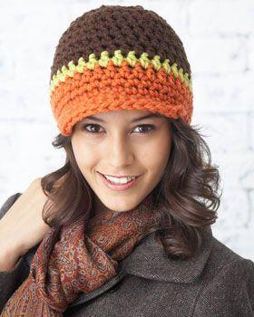 Crocheted in Fall-perfect shades of Bernat Softee Chunky, this stylish Peak Hat is a seasonal staple.