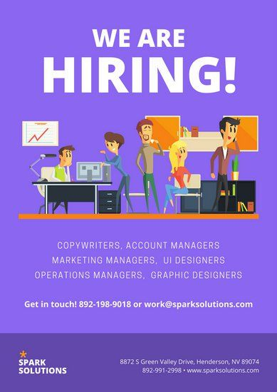 Purple Office Illustration Recruitment Business Poster Desain Poster Referensi Desain Desain