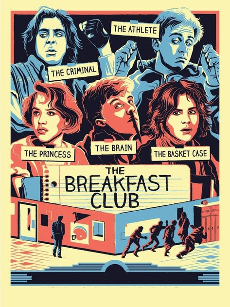 movie poster art The Breakfast Club by Ryan Brinkerhoff - MoviePosterPorn Iconic Movie Posters, Movie Poster Art, Iconic Movies, Old Movies, Vintage Movies, Vintage Movie Posters, Old Film Posters, 80s Posters, Poster Series