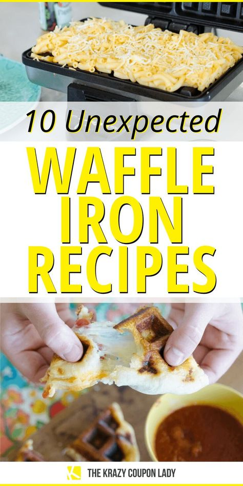 You've been underestimating your waffle iron for way too long. Pull that baby out and use it to make these quick meals and desserts with ingredients you probably already have on hand. Waffle iron recipes are the perfect way to inject some fun into your kid's meals or even your own, and they are perfect for an at-home Mother's day brunch or Sunday breakfast. Waffle iron brownies, breakfast sandwiches, even mac & cheese! #cookinghacks #easyrecipe #easymeals