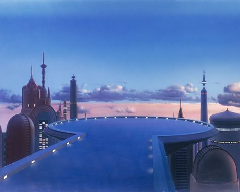 """You may not know Ralph Mcquarrie, Michale Pangrazio, or Chris Evans by name, but you know their amazing work on the background paintings in """"Star Wars"""". Star Wars Film, Star Wars Art, Images Star Wars, Star Wars Pictures, Ralph Mcquarrie, Matte Painting, Live Action, 80s Background, Cloud City"""