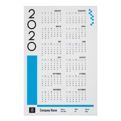 Bright Blue 2020 Corporate Wall Calendar Poster Calendarcalendar Design Calendar Bauhaus Email Templates Graphic Design In 2020 Calendar Poster Wall Calendar Calendar